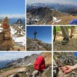 Collage - bergsbestigning i de österrikiska fjällängarna Royaltyfri Fotografi