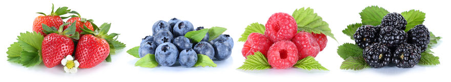 Collage berries in a row strawberries blueberries berry fruits i Stock Photography