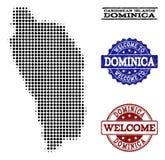 Collage bienvenu de la carte tramée de Dominica Island et des phoques grunges illustration stock