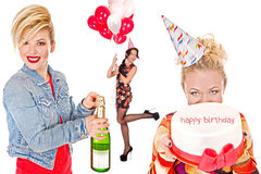 Collage birthday with three women Royalty Free Stock Images