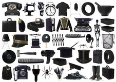 Collage of Black objects Royalty Free Stock Images