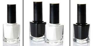 Collage of black and white nail polish Royalty Free Stock Images