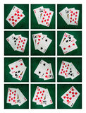 Collage - Blackjack Card Of Twenty One. Collage of twelve photographs of six blackjack twenty one points combinations. The lower half of the collage is a mirror royalty free stock image