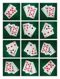 Collage - blackjackkort av tjugo ett Royaltyfri Bild