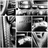 Collage blanco y negro automotriz del consumidor Imagen de archivo