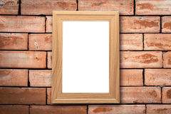 Collage of blank brown wooden frames , interior decor mock up on. Old brick wall, vintage style Royalty Free Stock Photography