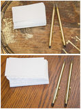Collage blank business cards writing pen pencil  Stock Images