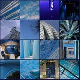 Collage, blau Stockfotografie