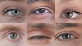 Collage of blinking eye of young people. The collage of blinking eye of young people stock video