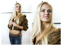 Collage - blonde girl dressed in fur coat and her portrait Royalty Free Stock Photos