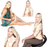 Collage blonde girl with long hair isolated on white background. Collage blonde young girl with long hair in different poses isolated on white background Stock Images