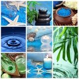 Collage blu della stazione termale Immagine Stock