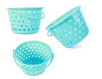 Collage of blue baskets. USE FOR LAYOUT, DESIGN, & BACKGROUND Stock Photography