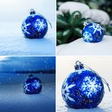 Collage of Blue Christmas Ball on snow. Collage of Blue Christmas Ball with snowflake on white snow in winter Stock Images