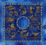 Collage with blue and gold zodiac symbols ans constellations Stock Photo