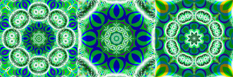 Collage of blue and green fractals. Set of three geometrical fractal images in a vibrant green and blue octagonal shape Stock Photo