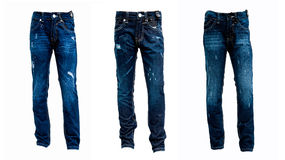 Collage of blue jeans isolated on white background. Three series of blue jeans on a white background Royalty Free Stock Image