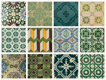 Collage of blue pattern tiles in Portugal Stock Photos
