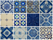 Collage of blue pattern tiles in Portugal Stock Photo