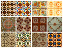 Collage of blue pattern tiles in Portugal Royalty Free Stock Photo