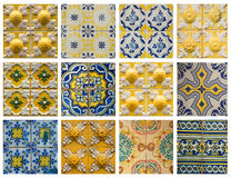 Collage of blue pattern tiles in Portugal Royalty Free Stock Images