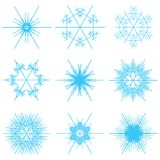 Collage of blue snowflakes stock photo