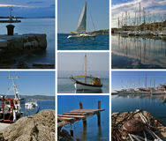 Collage-Boats at Adriatic sea. Collage - boats, beacon, buoy, dock, mooring detail, at Adriatic sea (Croatia). View at a mooring detail - quayside - bollard royalty free stock photos