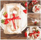 Collage: Bordsservis och bestick med röda jordgubbar Arkivbild