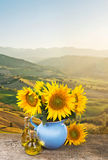 Collage with bouquet of sunflowers on Tuscany Stock Image