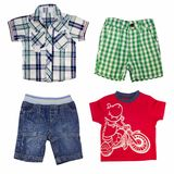 Collage of boy clothing isolated on white. Collage of male kid clothing. Boy clothes isolated on white Royalty Free Stock Photo