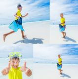 Collage of Boy having fun on tropical ocean beach. Kid during family sea vacation. Stock Photography