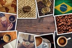 Collage brasiliano della foto del caffè Fotografie Stock Libere da Diritti