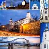 Collage of Bratislava, capital of Slovakia Stock Images