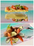 Collage with bread, avocado, tomato Royalty Free Stock Photo