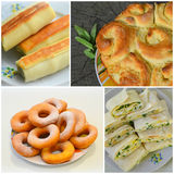 Collage of bread, homemade cakes. Calorie food Stock Photos