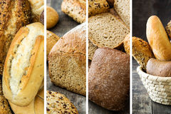Collage bread on wood. En table Royalty Free Stock Photography
