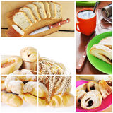 Collage of breakfast with bakery Stock Photos