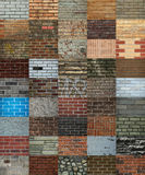 Collage of bricks wall Royalty Free Stock Photos