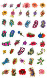Collage of brooches from felted wool Stock Images