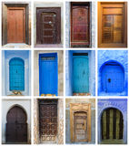 Collage of brown and blue doors in Morocco Royalty Free Stock Images