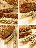 Collage of brown bread & wheat. On a wooden board royalty free stock images