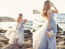 Collage-brud med en bukett av blommor i en bröllopsklänning nära havet royaltyfri foto
