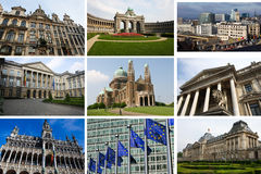 Collage of Brussels landmarks. Collage of landmarks of Brussels, capital of Belgium and Europe Stock Photography
