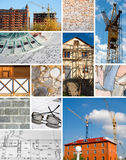 Collage of a building designing and construction. Collage of a building construction (lifting crane, plan, brick wall, falsework Royalty Free Stock Photography