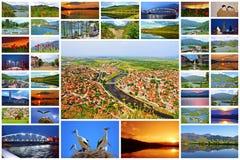 Collage bulgare de carte postale de ville de Krichim de paysage Photo stock