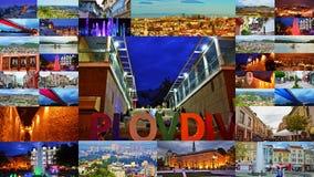 Collage Bulgaria della cartolina della città di Filippopoli Immagine Stock