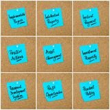 Collage of Business Acronyms written on paper note. Collage of Business Acronyms written on blue paper note pinned on cork board with white thumbtack, copy space Stock Image