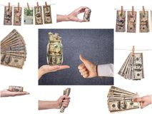 Collage of business images. Financial concept,  background Stock Photos