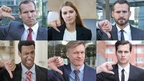 Collage of business people doing thumbs down stock video footage