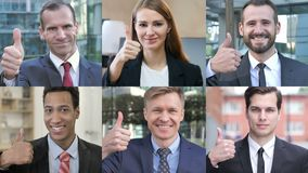 Collage of business people doing thumbs up stock video